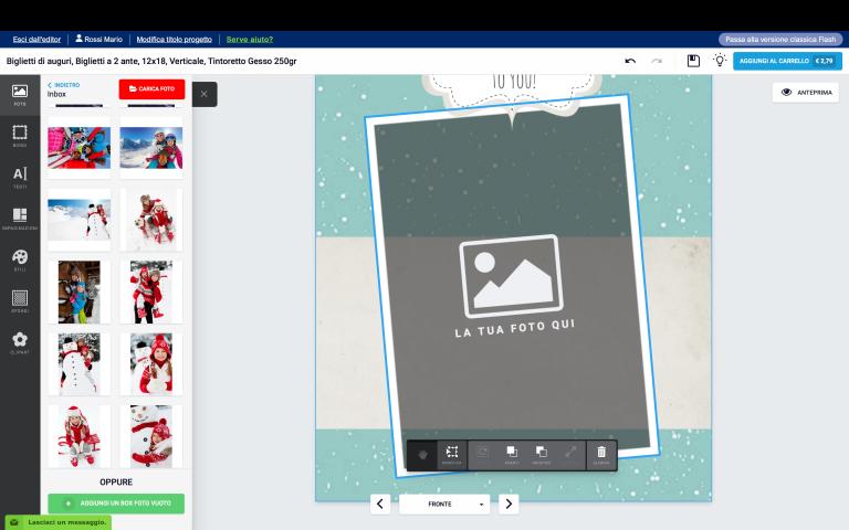 inserisci una foto nel tuo biglietto di Natale con foto personalizzato