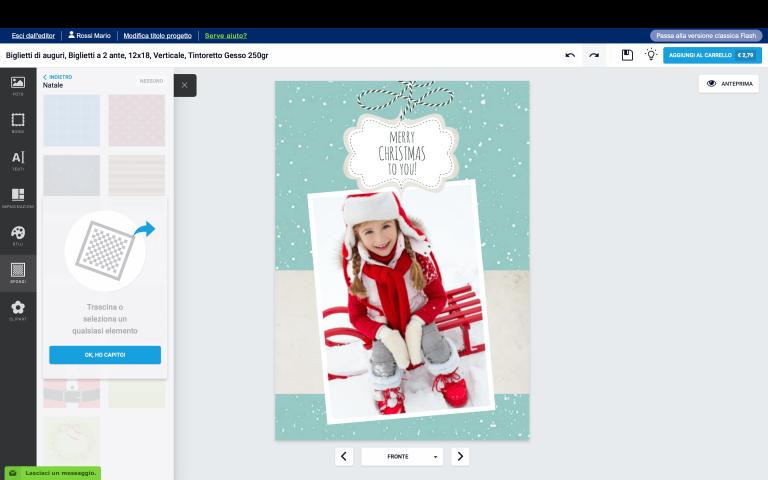 inserisci una foto nel tuo biglietto di Natale con foto personalizzato 2