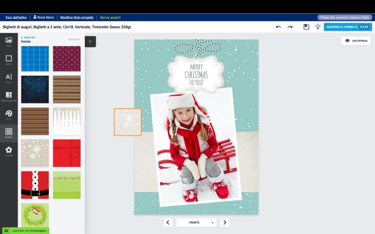 aggiungi uno sfondo al tuo biglietto di Natale con foto personalizzato