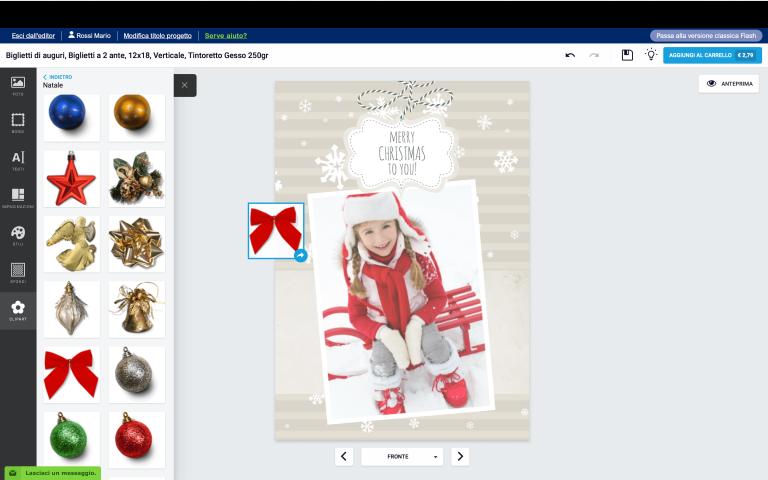 aggiungi una clip art al tuo biglietto di Natale con foto personalizzato