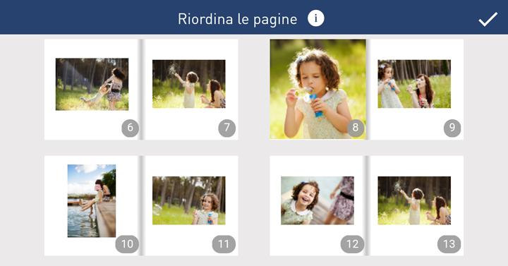 Stampa fotolibri - Riordina le pagine