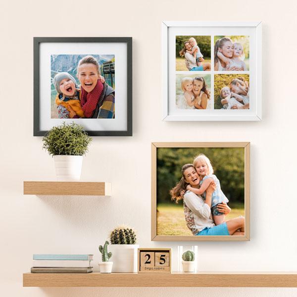Quadro con foto 30x30 Cornice quadrata in legno bianco, nero o color legno