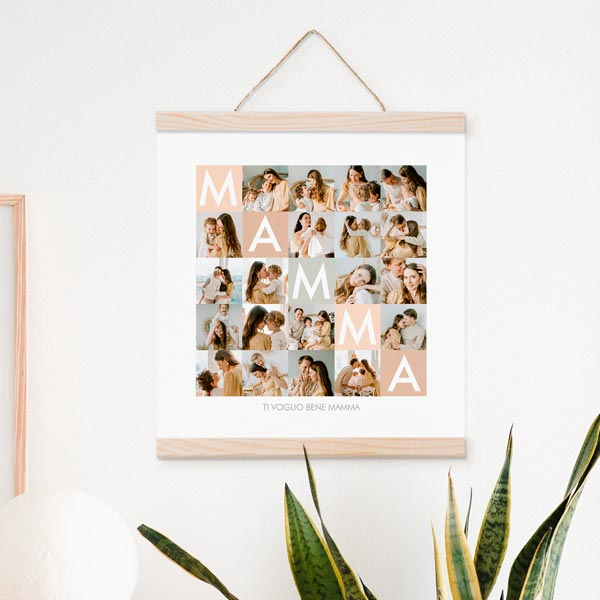 Poster Collage Mamma 30x30 30x30 con astine legno