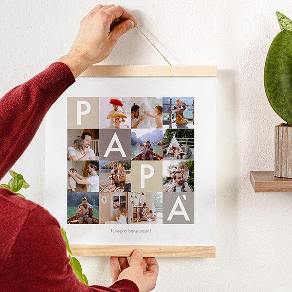 Poster Collage Papà 30x30 con astine legno